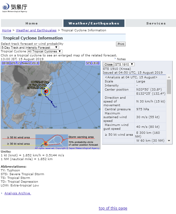 Tropical Cyclone Information in Japan Typhoon No.10 information